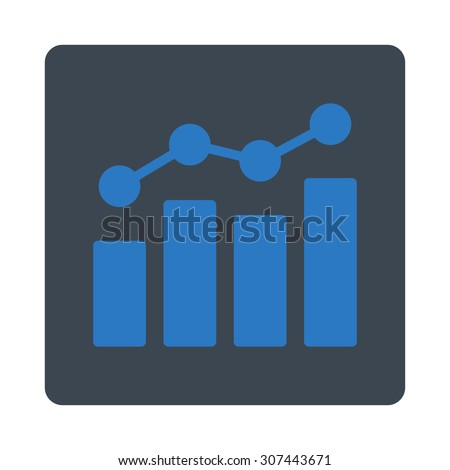 Analytics raster icon. This flat rounded square button uses smooth blue colors and isolated on a white background. - stock photo