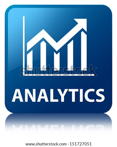 Analytics (statistics icon) glossy blue reflected square button - stock photo
