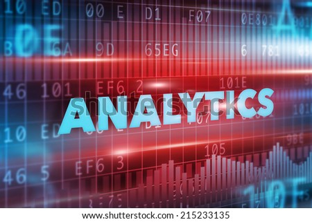 Analytics technology illustration concept with blue text - stock photo