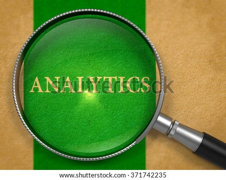 Analytics through Magnifying Glass on Old Paper with Green Vertical Line Background. 3d Render. - stock photo