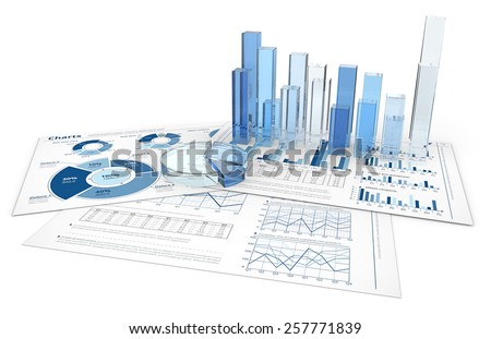 Analyze. Blue infographics documents with 3D graphs and charts of glass. - stock photo