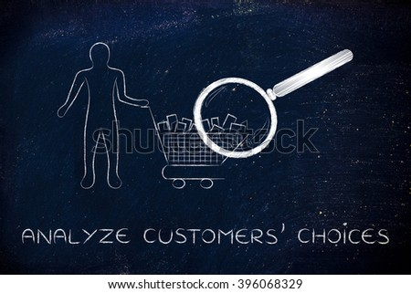 analyze customers' choices: person with shopping basket & huge magnifying glass analyzing it - stock photo