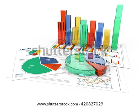 Analyze. Financial documents with colorful 3D graphs and pie charts of glass. - stock photo