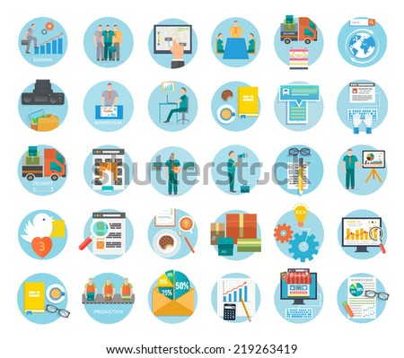 Analyze of internet shopping process purchasing and delivery. Business online sale icons. Poster concept buying product online shop e-commerce idea symbol shopping elements flat design. Raster version - stock photo