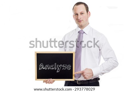 Analyze - Young businessman with blackboard - isolated on white - stock photo