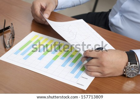 Analyzing Business Chart in the Office