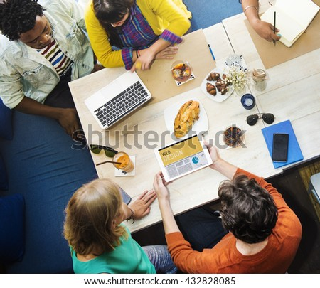 Analyzing Discussion Brainstorming Cafe Casual Concept - stock photo