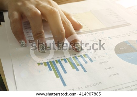analyzing financial chart on tablet , strategy concept , business idea , business concept - stock photo