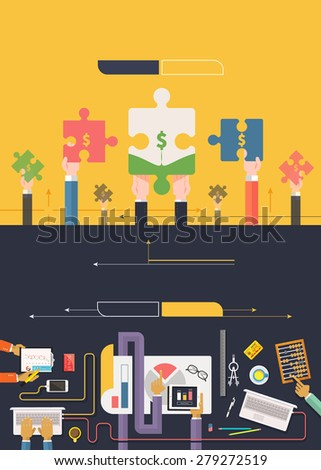 Analyzing financial data investment and charts on banners with buttons in flat design. Hands with puzzles. Creative team work top view. Web banners marketing and promotional materials. Raster version - stock photo