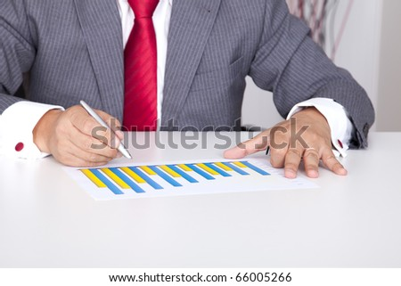 Analyzing the business progress in a bar chart (selective focus)