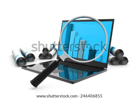 Analyzing the Economical business graph - stock photo