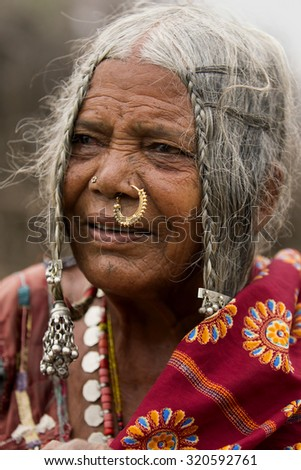 ANANTAPUR,INDIA-CIRCA 2014 -An unidentified portrait of an old lambadi woman in Anantapur.Lambadis are a nomadic community, said to be from afghanistan, now settled in various parts of India.