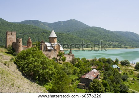 Ananuri church and stronghold, caucasus mountains, georgia - stock photo