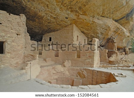 Anasazi Cliff Dwellings at Mesa Verde National Park, Colorado - stock photo