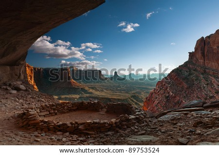 Anasazi Ruin, False Kiva. False Kiva is a human-made stone circle of unknown origin in a cave in a remote area of the Canyonlands National Park, which is located in U.S. state of Utah. - stock photo
