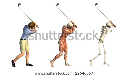 Anatomical overlays featuring a man taking a golf swing - 3D render. These images will line up exactly, and can be used to study human anatomy. - stock photo