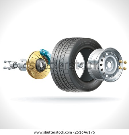 Anatomy of a vehicle wheel disposed on one axis - stock photo