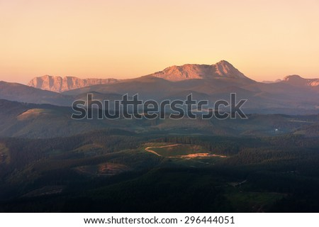 Anboto mountain range at the sunset