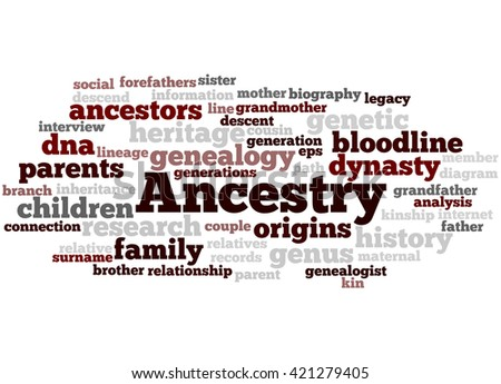 Ancestry, word cloud concept on white background.  - stock photo