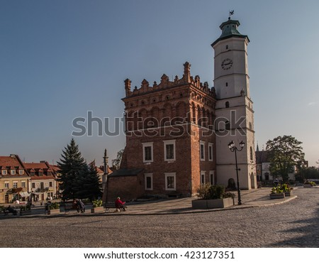 Anchor and chain disappearing into the sky. Central Square. Sandomierz. Poland - stock photo