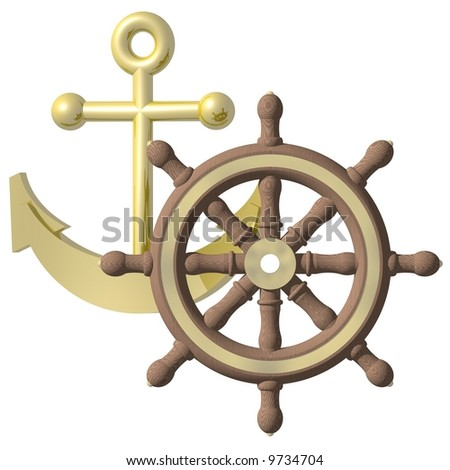 Anchor and wheel concept isolated on white - stock photo