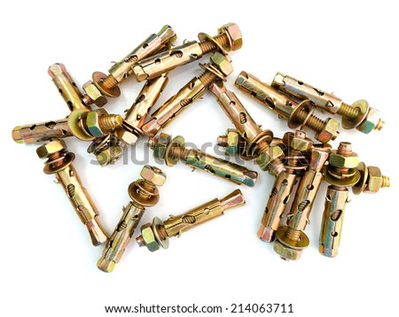 Anchor bolts isolated - stock photo