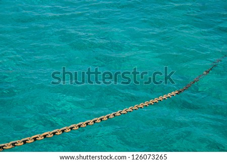 Anchor Chain on the background of the sea - stock photo
