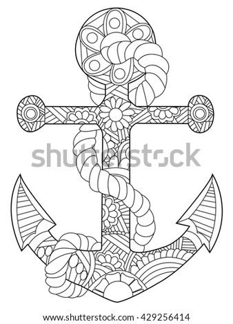anchor coloring page for adults - anchor coloring book adults raster illustration