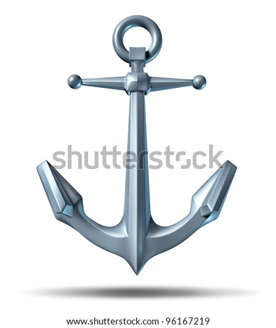 Anchor on a white background with a metal heavy nautical structure as a marine icon representing strength reliability and stability.