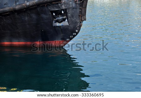 Anchor on the bow - stock photo