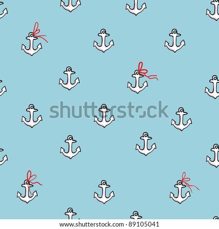 Anchor seamless pattern - stock photo