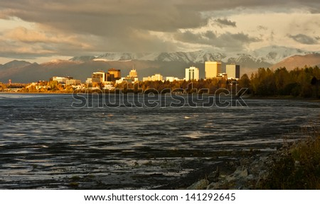 Anchorage, Alaska in Fall - stock photo