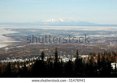 Anchorage Alaska landscape, view from the Chugach Mountains - stock photo