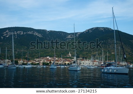 Anchorage in front of Komiza in Vis island, Croatia