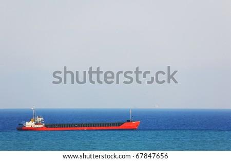 Anchored ship - stock photo