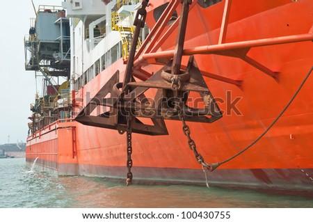Anchors on Drill Ship - stock photo