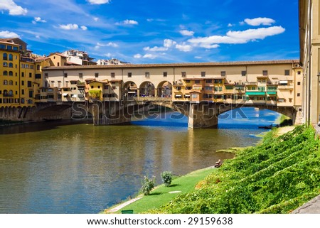 Anciant bridge Ponte Vecchio in Florence. Italy. - stock photo