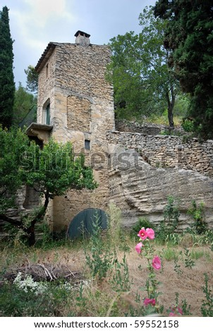 Ancient abandoned house in a village in southern France - stock photo