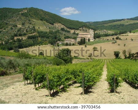 ancient abbey in lovely tuscan scenery,Europe - stock photo