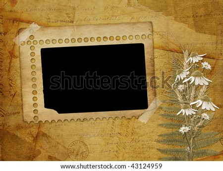 Ancient  abstract background with frame and floral beautiful bouquet