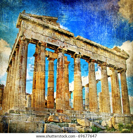 ancient Acropolis - artistic retro styled picture - stock photo