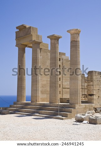 Ancient Acropolis in Lindos, Rhodes island, Greece - stock photo