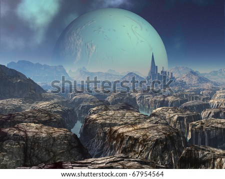 Ancient Alien Ruins on Abandoned Planet - stock photo