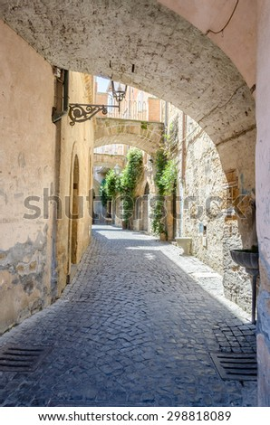 Ancient Alley in the medieval town of Orvieto, Italy - stock photo