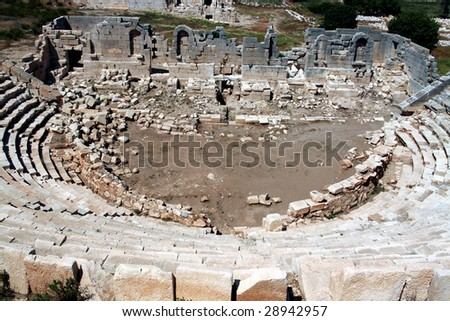 ancient amphitheater stairs from the top view - stock photo