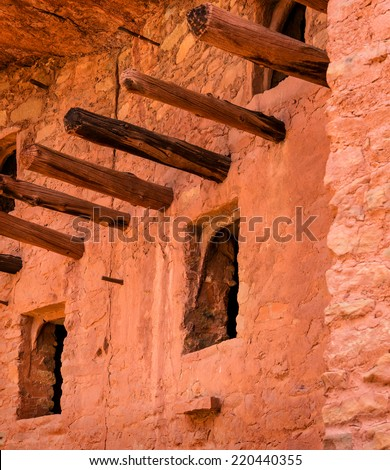 Ancient Anasazi Cliff Dwelling near Colorado Springs, Colorado - stock photo