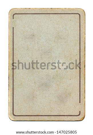 ancient and grunge isolated on white playing card paper empty  background with line - stock photo