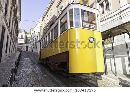Ancient and Old Lisbon tram, detail of an ancient means of transportation around the city, monument of Lisbon - stock photo