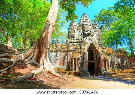 ancient Angkor gates in Cambodia - stock photo