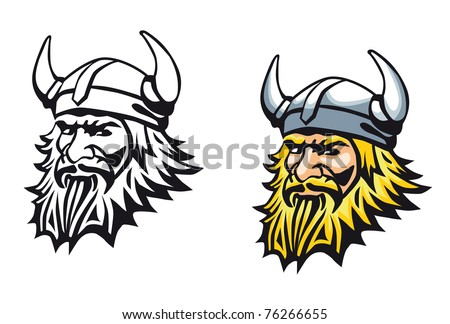 Ancient angry viking warrior as a mascot or tattoo. Vector version also available in gallery - stock photo